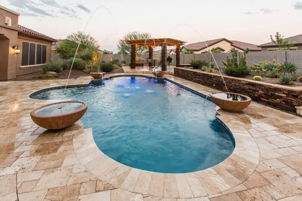 A 9 foot deep salt water pool we built within the Phoenix metropolitan area.