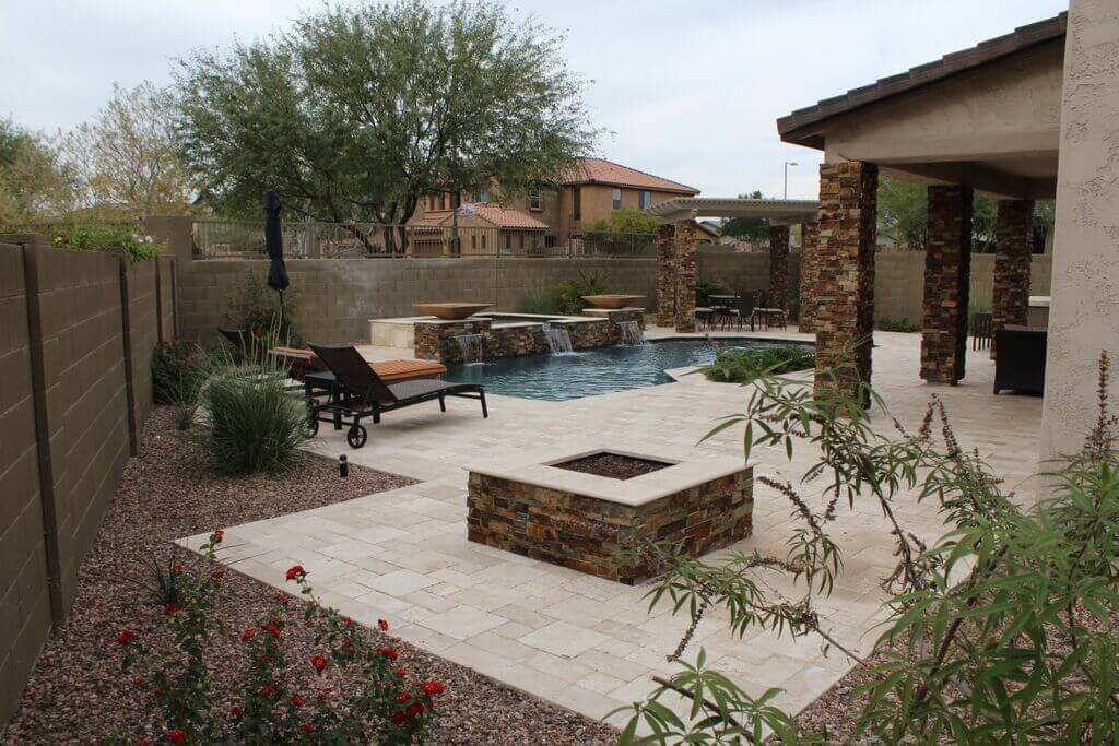 A distant view of a pretty typical Arizona patio we built a couple years back.