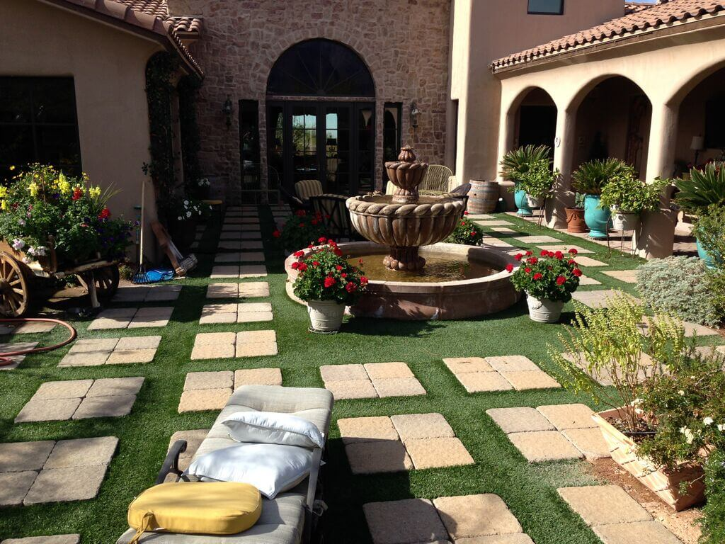 Concrete pavers and other pavers can make an interesting landscape