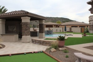 Large pergola with stacked brick look by New Image, the best landscapers in Mesa, AZ