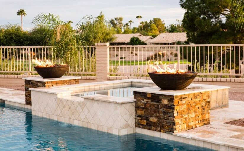 Beautiful hot tub and fire features, by New Image's pool and landscaping in Gilbert, AZ