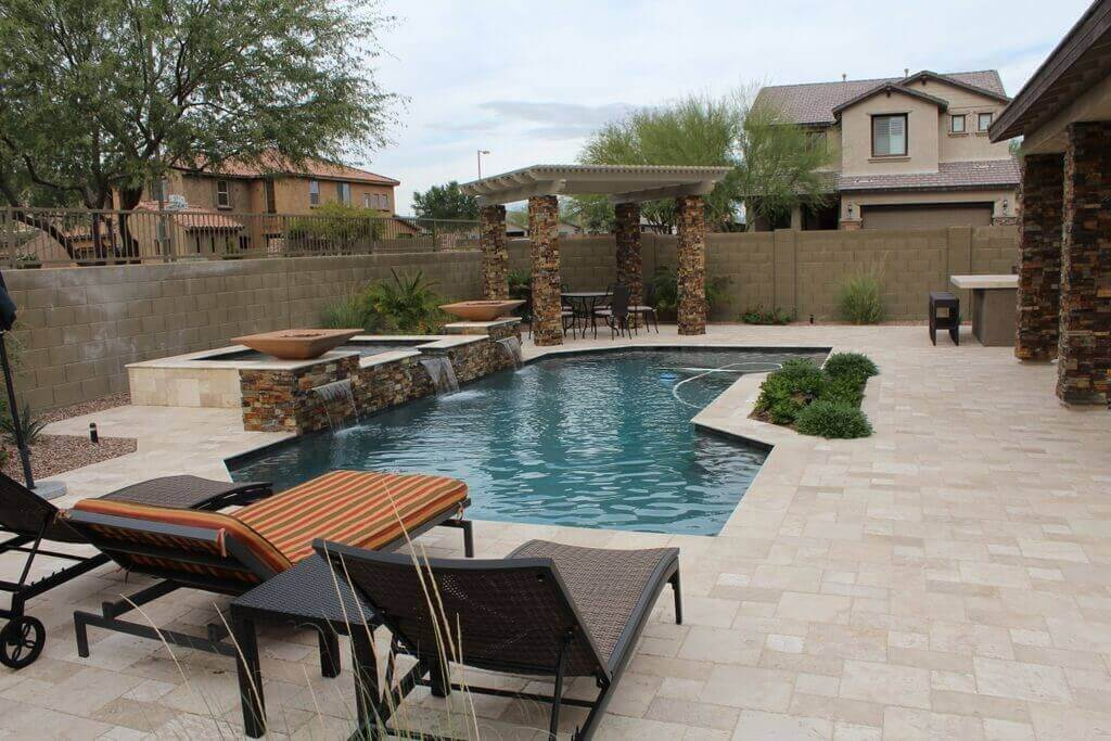 A Chandler swimming pool and landscape built with all the bells and whistles.