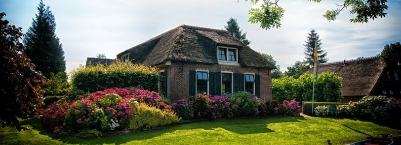 small house with large lawn and garden
